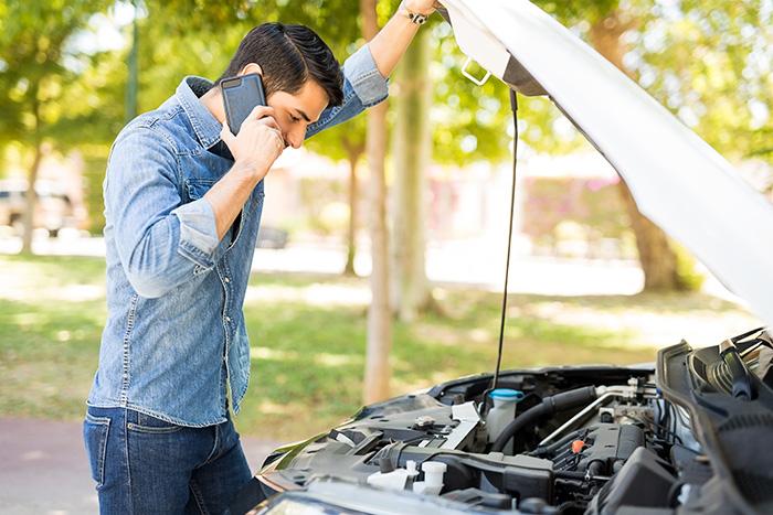 guy calling roadside assistance